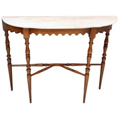 Vintage Walnut Console with a Portuguese Pink Marble Top, Italy
