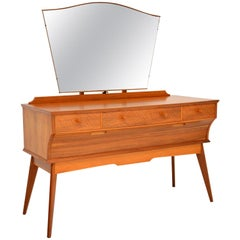 Vintage Walnut Dressing Table by Alfred Cox