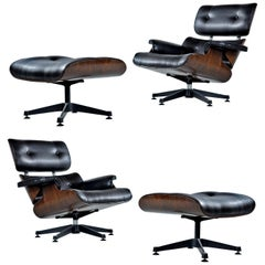 Vintage Walnut Eames Lounge Chair and Ottoman Replica Set in Black Leather