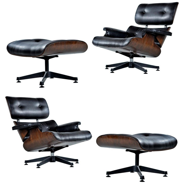 Outstanding Vintage Walnut Eames Lounge Chair And Ottoman Replica Set In Black Leather Ibusinesslaw Wood Chair Design Ideas Ibusinesslaworg