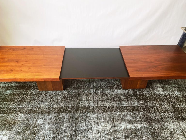 Vintage Walnut Expandable Coffee Table by John Keal for Brown Saltman, c. 1960s For Sale 1