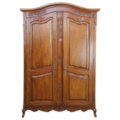 Vintage Walnut French Country Clothing Armoire Wardrobe Closet TV Cabinet