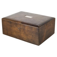 Vintage Walnut Humidor with Silver Nameplate, circa 1940-1970