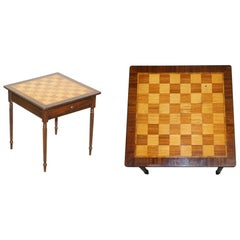 Vintage Walnut & Mahogany Marquetry Inlaid Chess Board Games Table with Drawer