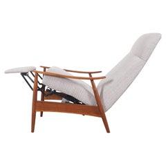 Vintage Walnut Reclining Lounge Chair Model-74 by Milo Baughman