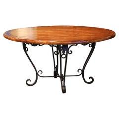 Vintage Walnut Round Dining Room Table on Four-Leg Wrought Iron Base