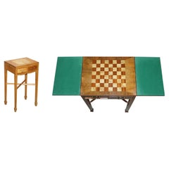Vintage Walnut Satinwood Games Card Side Table, Fold Out Chess Board & Drawers