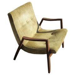 Vintage Walnut Scoop Chair by Milo Baughman