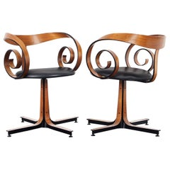 "Vintage Walnut ""Scroll"" Swivel Armchairs by George Mulhauser for Plycraft"