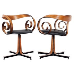 """Vintage Walnut """"Scroll"""" Swivel Armchairs by George Mulhauser for Plycraft"""