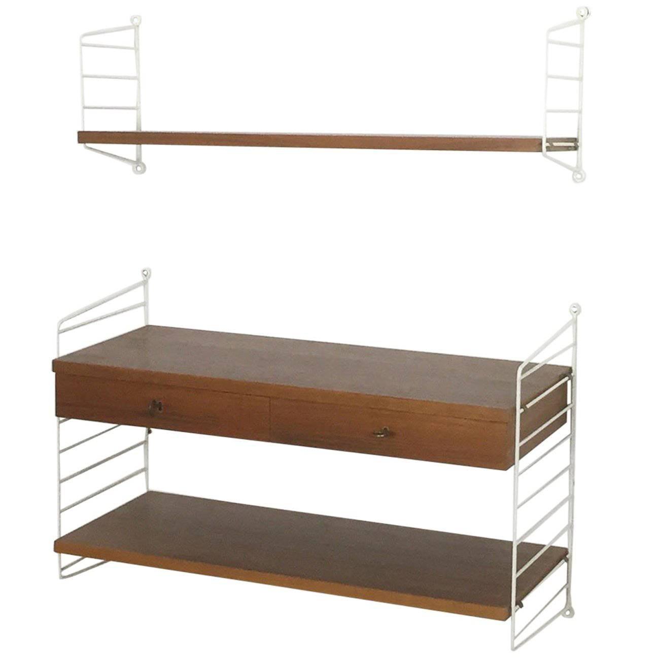 Antique Furniture String Shelf Nisse Wall Shelf 1960s 70s Shelf System 3 Flat