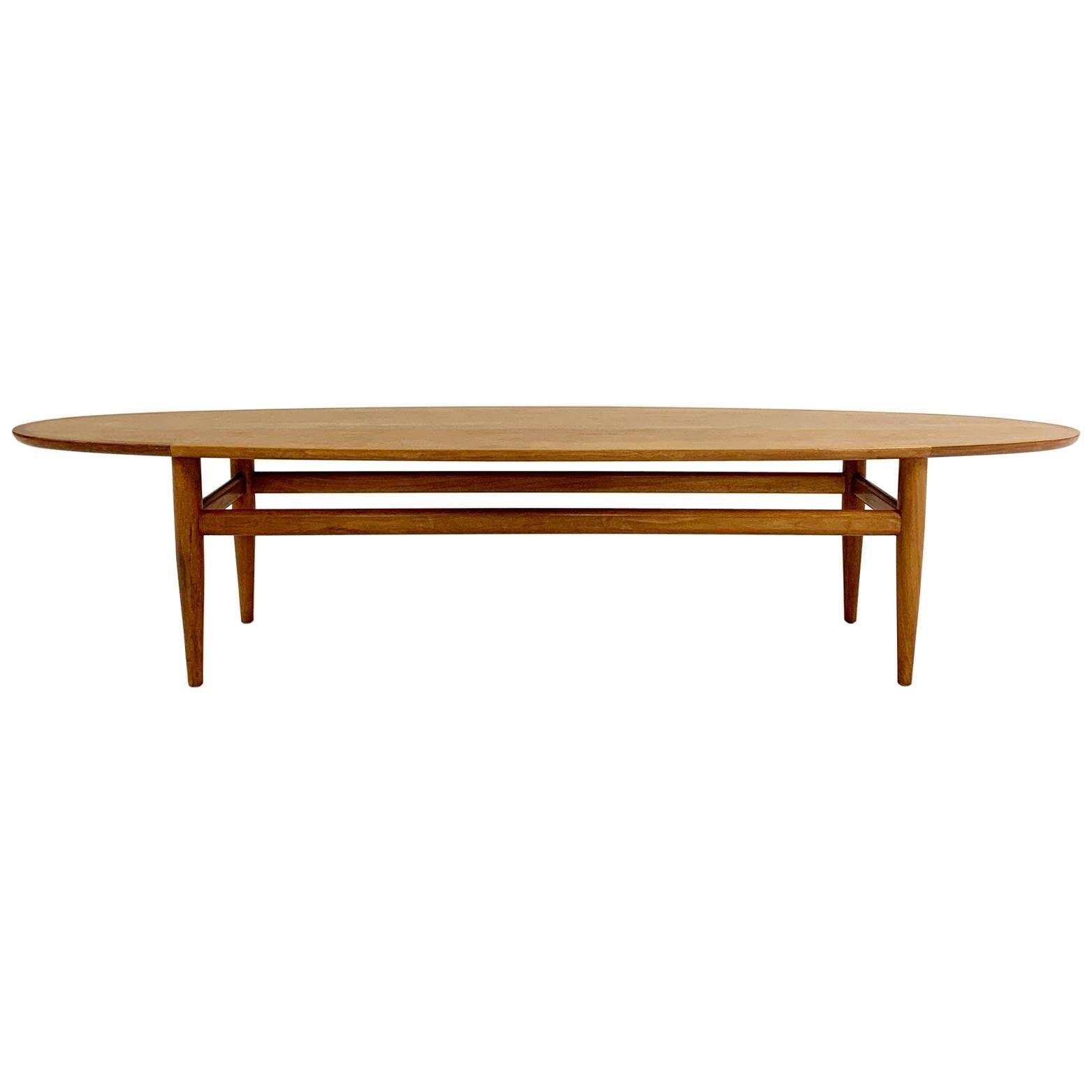 Vintage Walnut Surfboard Table