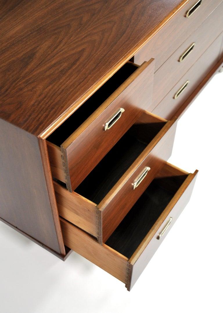 Vintage Walnut Triple Dresser by BP John, c. 1962 For Sale 4