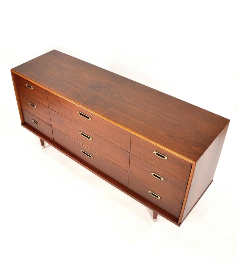 Vintage Walnut Triple Dresser by BP John, c. 1962 For Sale 7
