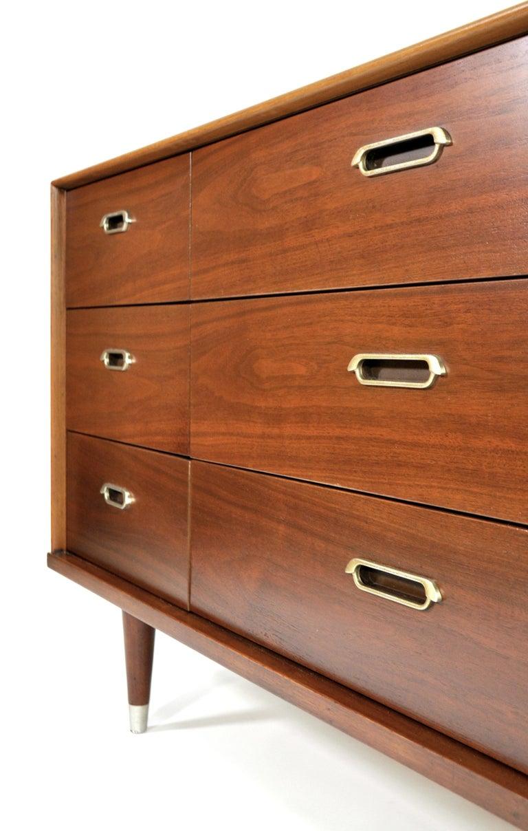 Vintage Walnut Triple Dresser by BP John, c. 1962 For Sale 8
