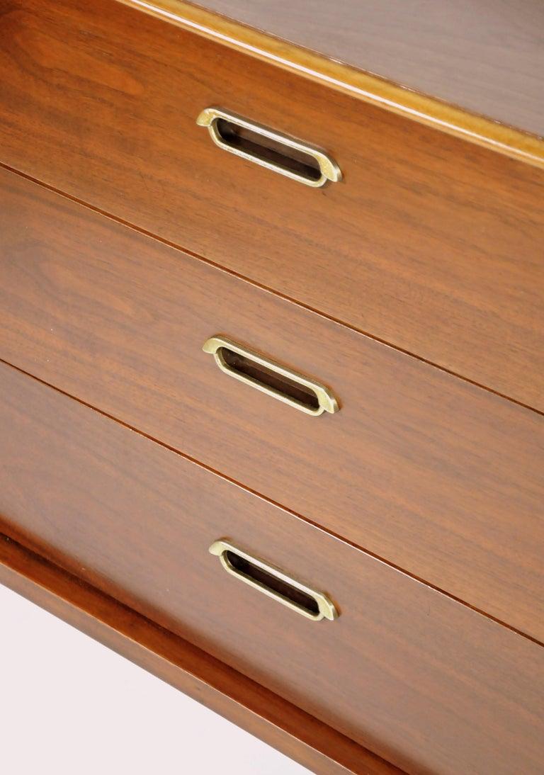 Mid-Century Modern Vintage Walnut Triple Dresser by BP John, c. 1962 For Sale