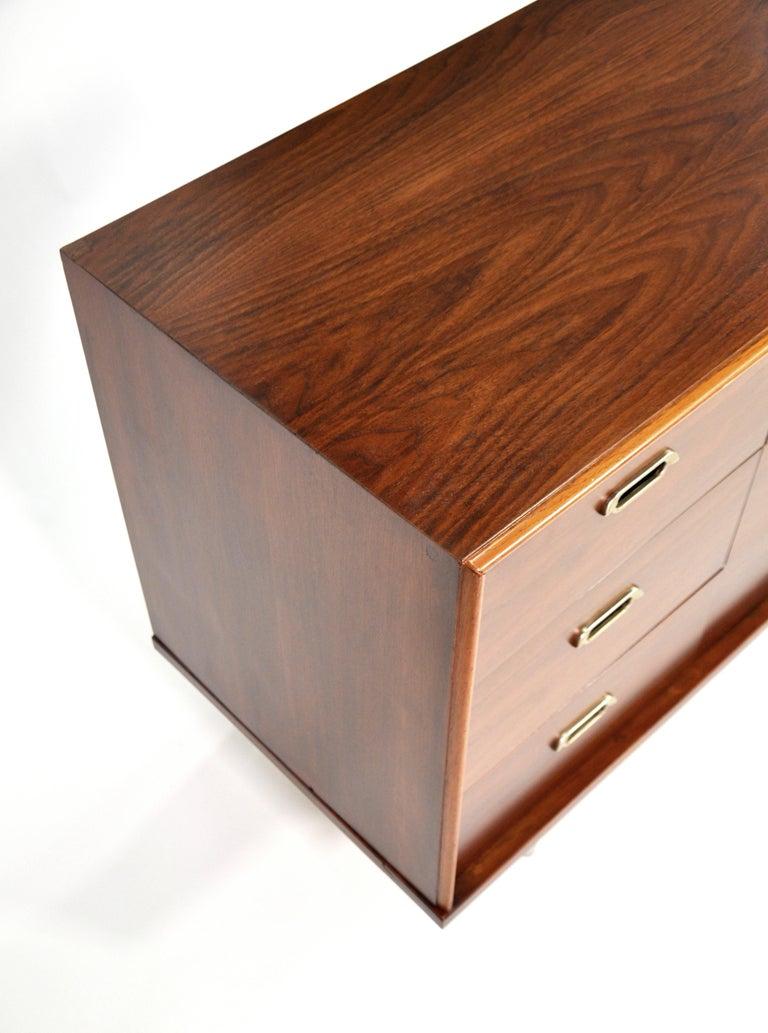 American Vintage Walnut Triple Dresser by BP John, c. 1962 For Sale