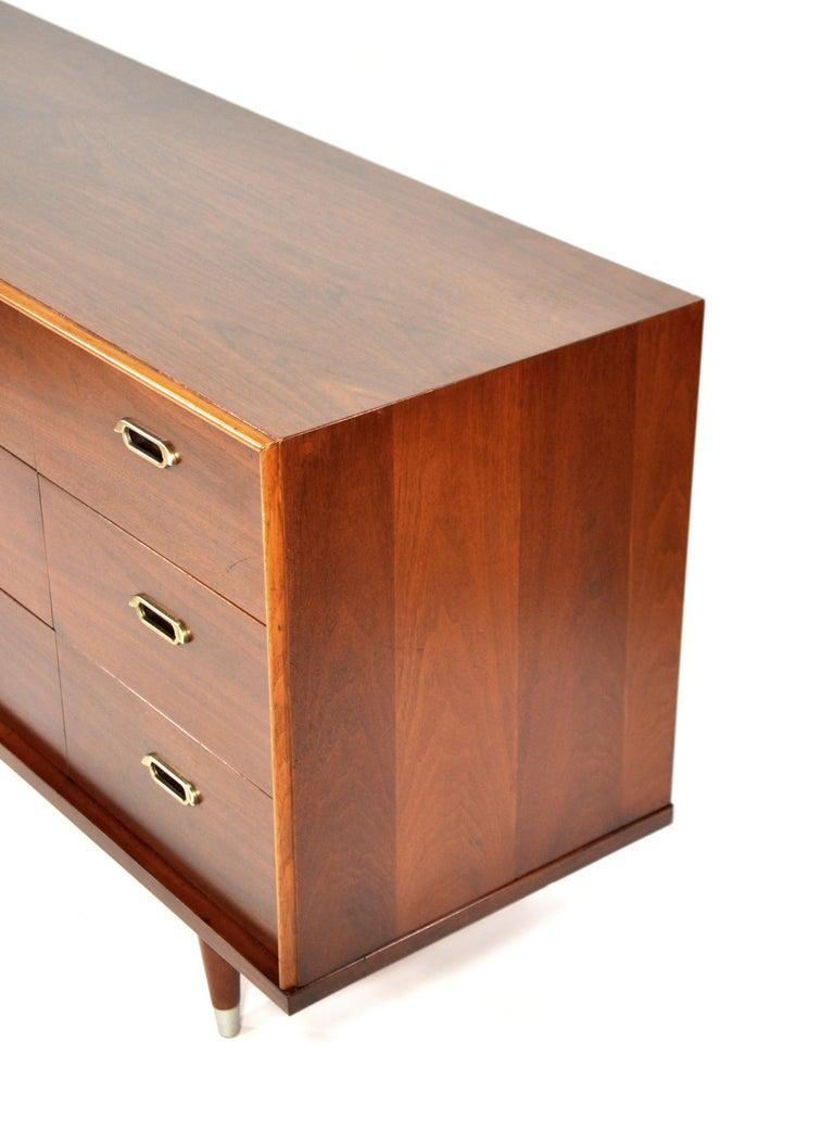 Metal Vintage Walnut Triple Dresser by BP John, c. 1962 For Sale