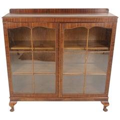 Vintage Walnut Two-Door Bookcase, Display Cabinet, Scotland 1930, B1406