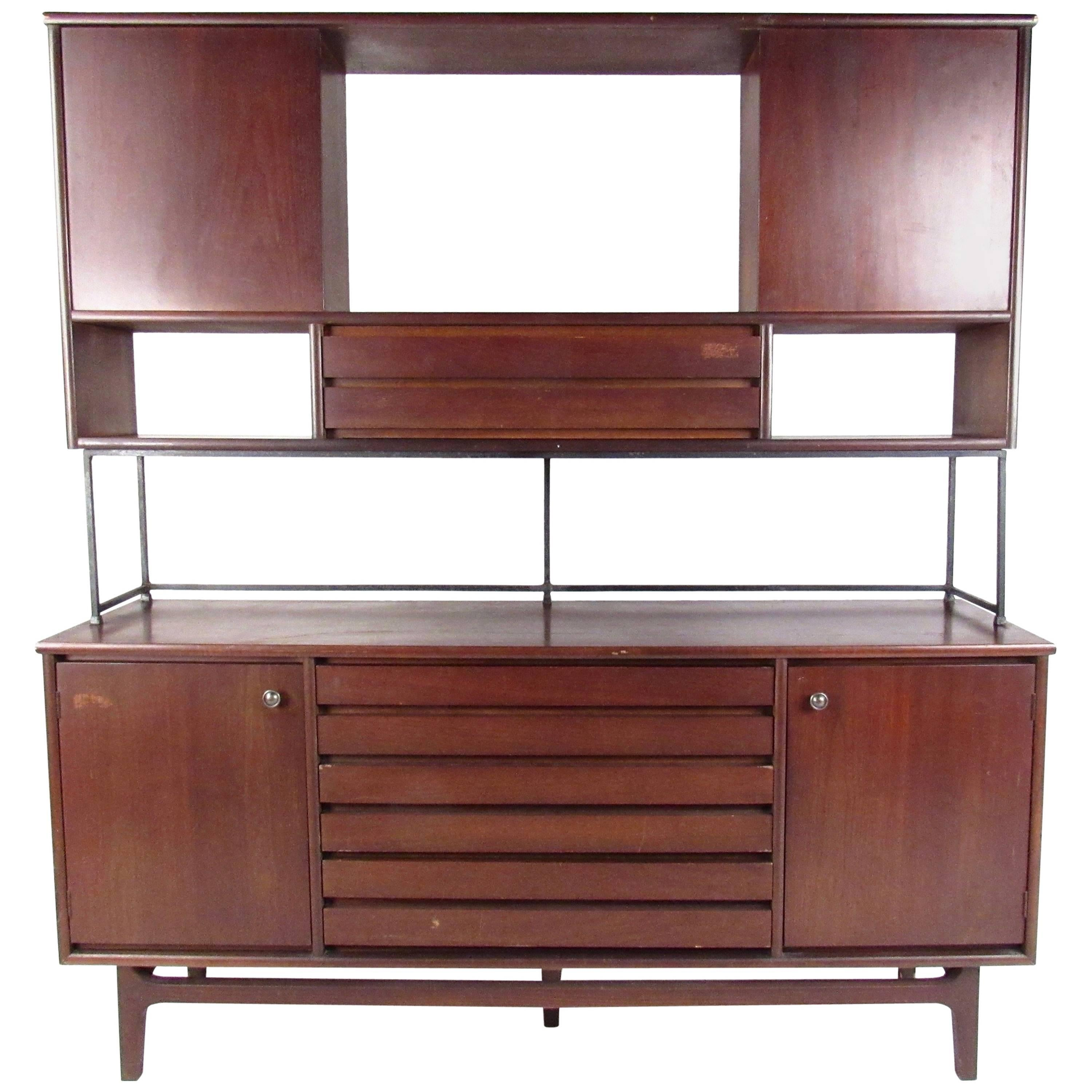 Vintage Walnut Two Piece Sideboard With Storage Hutch For Sale