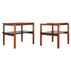 Vintage Walnut Two-Tiered Side Tables by Greta M. Grossman
