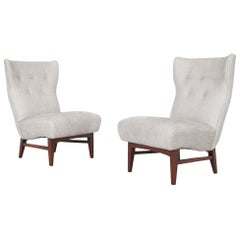 Vintage Walnut Wingback Slipper Lounge Chairs