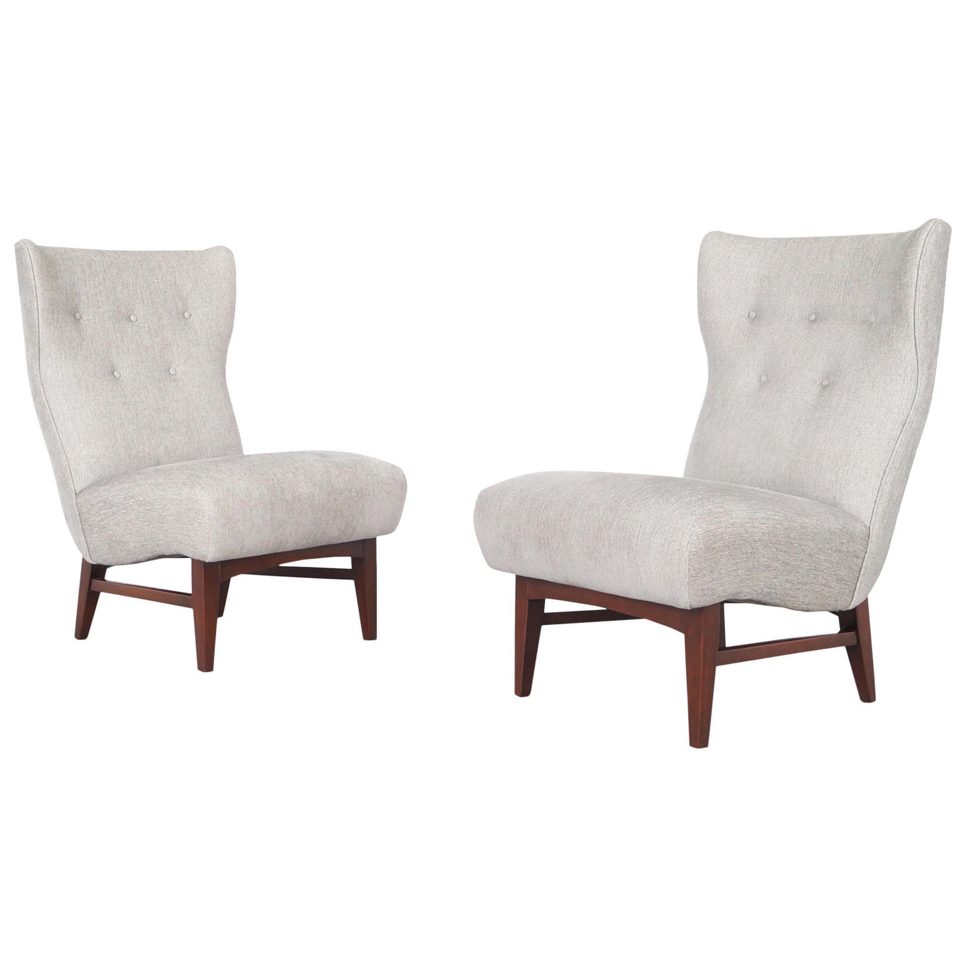 Vintage Walnut Wingback Slipper Lounge Chairs