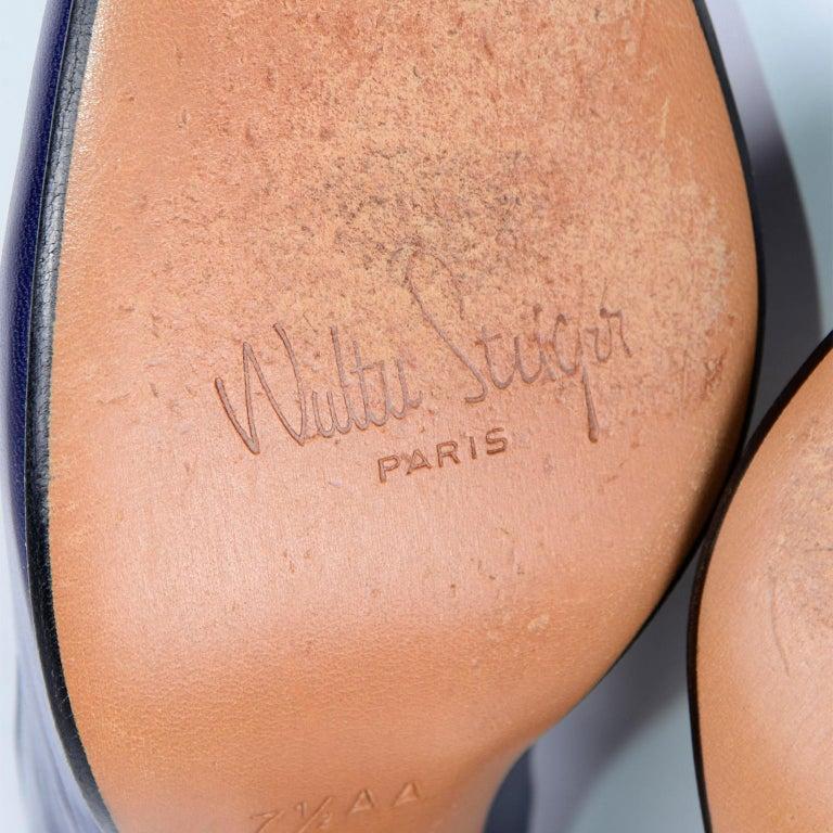 Vintage Walter Steiger Sculpted Avant Garde Blue Leather Shoes w Heels For Sale 5