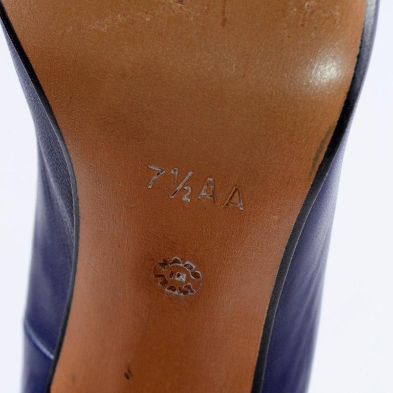 Vintage Walter Steiger Sculpted Avant Garde Blue Leather Shoes w Heels For Sale 6