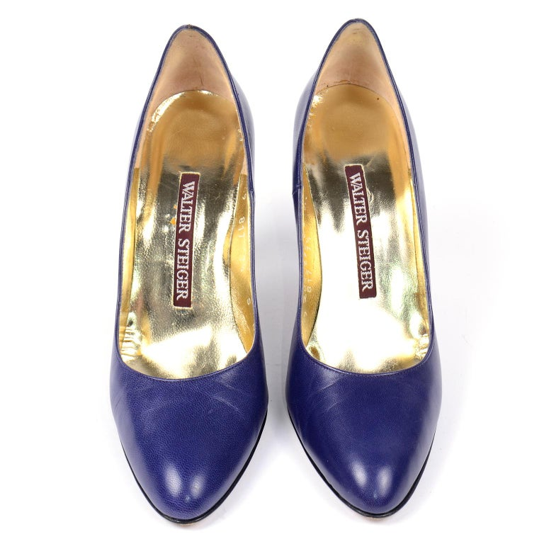 Black Vintage Walter Steiger Sculpted Avant Garde Blue Leather Shoes w Heels For Sale