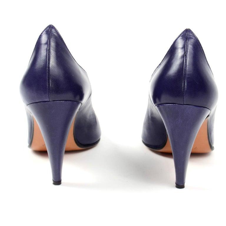 Vintage Walter Steiger Sculpted Avant Garde Blue Leather Shoes w Heels For Sale 1
