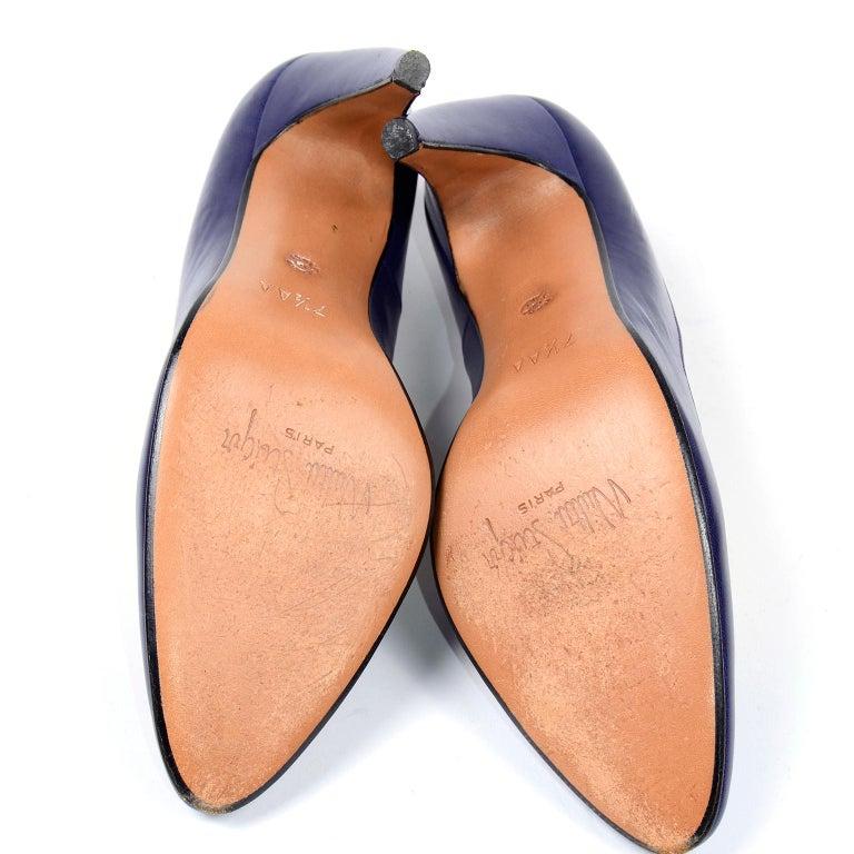 Vintage Walter Steiger Sculpted Avant Garde Blue Leather Shoes w Heels For Sale 4