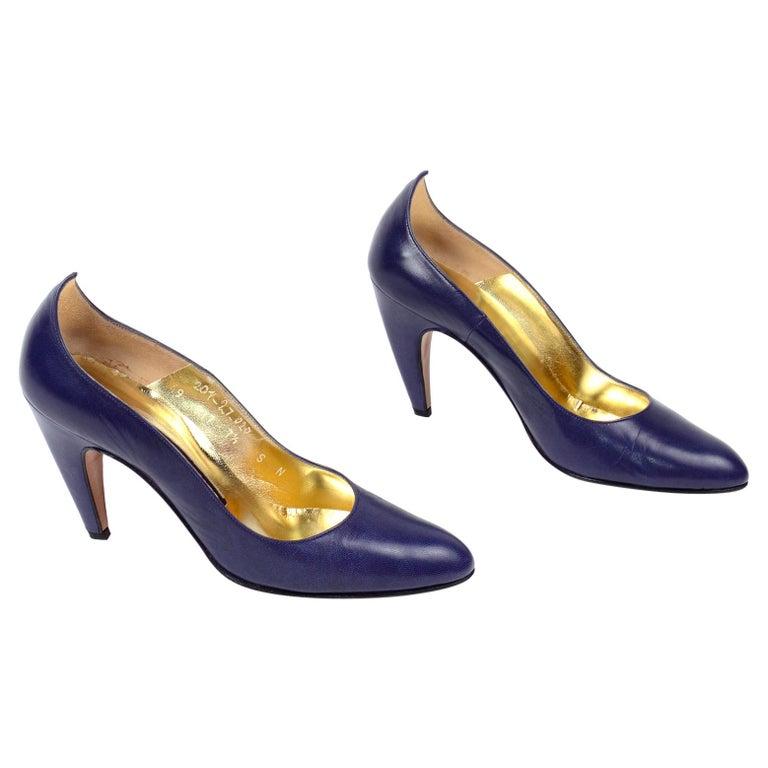 Vintage Walter Steiger Sculpted Avant Garde Blue Leather Shoes w Heels For Sale