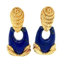 Vintage Wander Lapis 18 Karat Gold Doorknocker Earrings