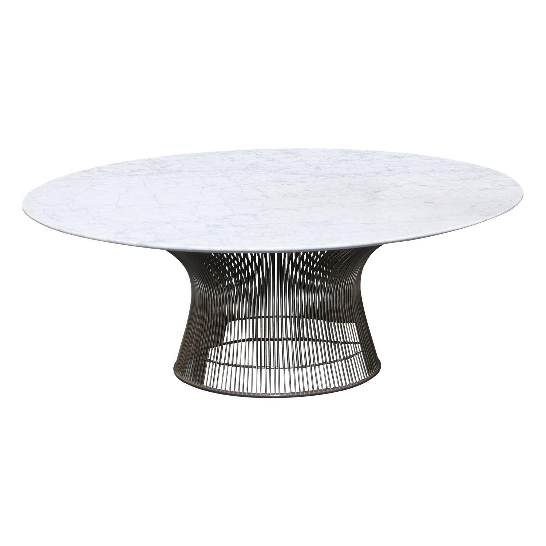 Vintage Warren Platner Carrara Marble & Steel Coffee Table for Knoll