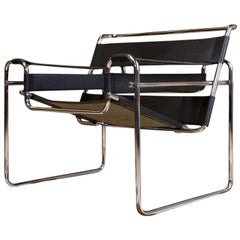 Vintage Wassily B3 Black Leather and Chrome Chair Marcel Breuer