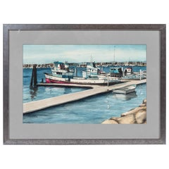 """Vintage Water Color of Boats in Harbour, Signed """"Elain '78"""""""