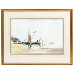 Vintage Watercolor by Edward Wesson of Pin Mill, Mid-20th Century