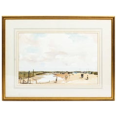 Vintage Watercolor Landscape by Edward Wesson, Mid-20th Century