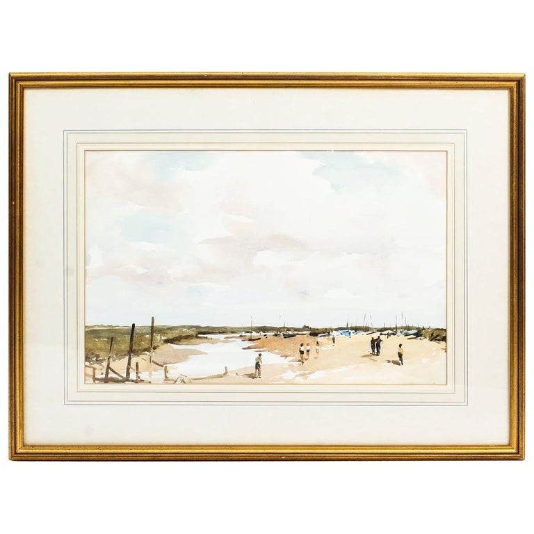 Vintage Watercolor Landscape by Edward Wesson, Mid-20th Century For Sale