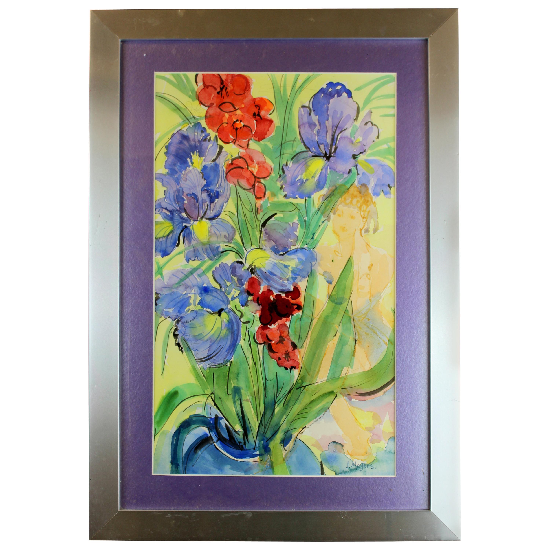 "Vintage Watercolor Painting ""Irises with Iris"" by Joyce Meyers, 1970s"