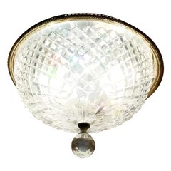 Vintage Waterford Crystal Monumental Flush Ceiling Fixture, Signed, Ireland