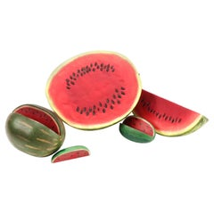 Vintage Watermelon Hand Carved Sculpture Set, Decoy Decor, Trompe L'Oeil