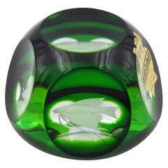 Vintage Webb Corbett Green Crystal Paperweight with an Engraved Fish