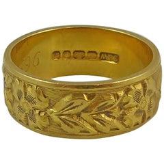 Vintage Wedding Ring, London 1967, Floral Pattern, Yellow Gold