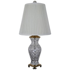 Vintage Wedgwood Waterford Crystal Glandore Crescent Brass Table Lamp