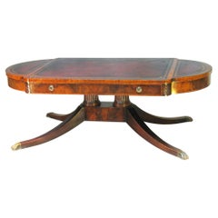 Vintage Weiman Georgian Style Tooled Leather Top Mahogany Coffee Table