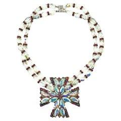 Vintage Weiss Aurora Borealis & Pink Crystal Maltese Cross Choker Necklace 1950s