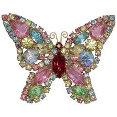 Vintage Weiss Embellished Crystal Butterfly Pin Brooch in Gold