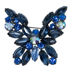 Vintage Weiss Embellished Sapphire Crystal Butterfly Pin Brooch, Retro